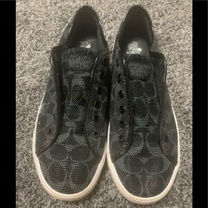 COACH Signature Slip-on Sneakers Black Canvas